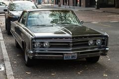 Chrysler classic car in a street next to Occidental Square in Seattle, Washington, USA. stock image