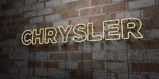 CHRYSLER - Glowing Neon Sign on stonework wall - 3D rendered royalty free stock illustration Royalty Free Stock Photo