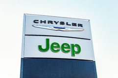 Chrysler, Jeep automobile dealership sign stock photo