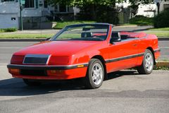 Chrysler Lebaron Convertible. Picture of the 1987 Chrysler Lebaron Convertible in a parking lot royalty free stock photo