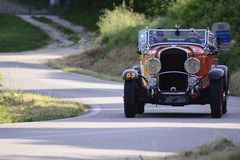 CHRYSLER 75 1929 on an old racing car in rally Mille Miglia 2018 the famous italian historical race 1927-1957. PESARO COLLE SAN BARTOLO , ITALY - MAY 17 - 2018 stock photos