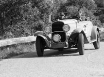 CHRYSLER 75 1929 an old racing car in rally Mille Miglia 2018 the famous italian historical race 1927-1957. PESARO COLLE SAN BARTOLO , ITALY - MAY 17 - 2018 :old royalty free stock photography