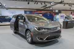 Chrysler Pacifica Hybrid on display during LA Auto Show. Los Angeles, USA - November 30, 2017: Chrysler Pacifica Hybrid on display during LA Auto Show at the Los royalty free stock photos