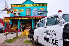 Chrysler Police Car in front of Historic Seligman Sundries Cafe. Stock Photo