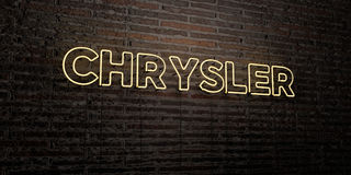 CHRYSLER -Realistic Neon Sign on Brick Wall background - 3D rendered royalty free stock image Royalty Free Stock Images
