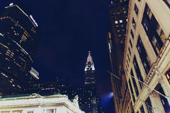 Chrysler som bygger Manhattan, New York vid natt Royaltyfri Fotografi