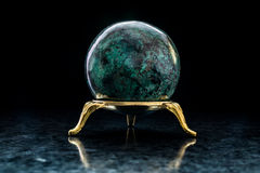 Chrysocolla ball on stand stock photo