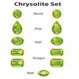 Chrysolite Set With Text. Green chrysolite set different cut - round, drop, oval, boat and octagon. Brilliant three-dimensional jewelry on a white background Royalty Free Stock Photo