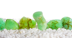 Chrysoprase, a green chalcedony. Is a cryptocrystalline gem used in jewellery and crystal healing for eyesight, prosperity, the immune system and heart chakra Royalty Free Stock Photos