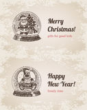 Chrystal call Santa elk set Christmas handdrawn template. Chrystal call Santa elk set New Year handdrawn engraving style template postcard poster banner print Stock Images