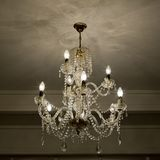 Chrystal chandelier close-up with copy space Royalty Free Stock Images