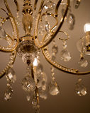 Chrystal chandelier close-up. Glamour background with copy space. Crystal chandelier, lamp in macro photography, glamour background Stock Images