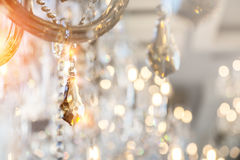 Chrystal chandelier close-up. Glamour background with copy space Royalty Free Stock Images