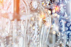 Chrystal chandelier close-up. Glamour background with copy space Royalty Free Stock Photo