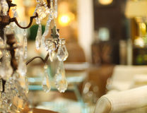 Chrystal chandelier close-up in living room Royalty Free Stock Images