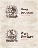 Chrystal dzwoni Santa łosia ustalony Bożenarodzeniowy handdrawn szablon royalty ilustracja