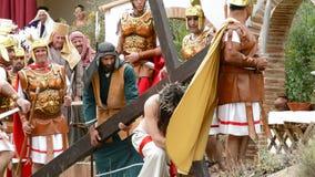 Chrystus jest batożącym Kalwaryjskim drogą, teatralnie przedstawicielstwo Pasyjna pasja. zbiory