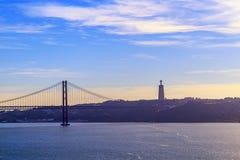 Chrystus 25 Kwietnia most i Fotografia Royalty Free