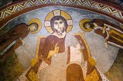 Chrystus Pantocrator - antyczny malowidło ścienne obraz w Ciemnym kościół w G fotografia royalty free