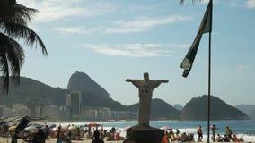 Chrystus statuy replika na copacabana plaży w Rio De Janeiro, Brazil zbiory