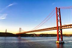 Chrystus 25th Kwietnia most i Zdjęcie Stock