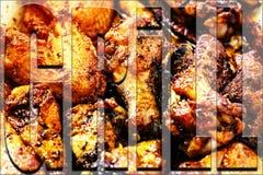 Chrzcielnica, grill, chrzcielnica z przezroczystością, kurczak nogi, grill iść na piechotę, b Zdjęcia Royalty Free