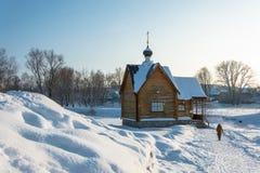 Chrzcielnica na świętej wiośnie Tikhvin ikona matka G Obraz Royalty Free