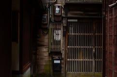 Chrzcielnicy drzwi, pensjonat, japoński styl - tła Obraz Royalty Free