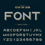 Chrzcielnicy i abecadła wektor Kreskowy śmiały typeface list i numerowy projekt, Graficzny tekst na tle royalty ilustracja