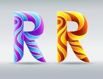 chrzcielnicy Kolorowy kreatywnie list R Abstrakcjonistyczna 3D chrzcielnica Karmel i pozafioletowi kolory royalty ilustracja
