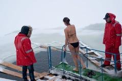 Chrzczenia skok do wody w Ukraina objawienia pańskiego świętowania tradyci, Janua obraz royalty free