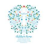 Chrzczenie, Christening Zaprasza - zaproszenie szablon z krzyżem Fotografia Royalty Free