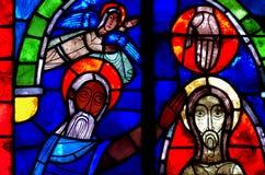 Chrzczenie jezus chrystus w witrażu obrazy stock