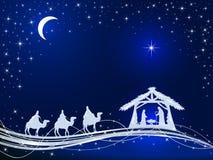 Chrześcijańscy boże narodzenia na Błękitnym tle z narodziny Jezus i S ilustracja wektor