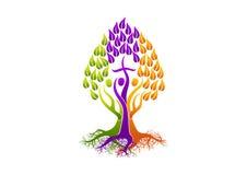 Chrześcijańscy ludzie logów, korzeniowy ikona świętego ducha drzewo, rodzinny kościelny wektorowy symbolu projekt Fotografia Stock