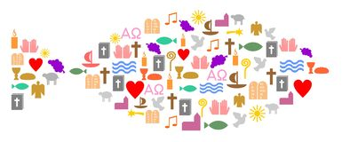 Chrześcijańscy symbole budują ryba royalty ilustracja