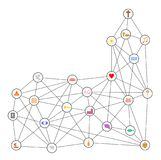Chrześcijańscy symbole budują sieć ilustracji