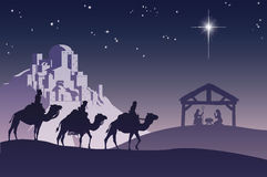 chrześcijańska bożych narodzeń narodzenia jezusa scena ilustracji