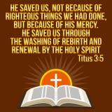 Chrześcijańska motywacyjna wycena Biblia werset Krzyż i olśniewający słońce ilustracji