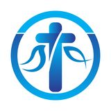 Chrześcijański święty przecinający logo z gołąbką ilustracja wektor