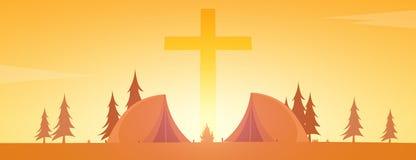 Chrześcijański obóz letni Wieczór camping krzyż również zwrócić corel ilustracji wektora Zdjęcie Stock