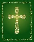 Chrześcijański ozdobny krzyż z kwiecistym złoto wzorem na zielonym tle i rocznik rama royalty ilustracja