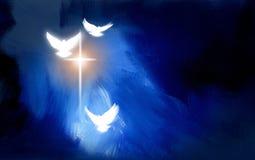 Chrześcijański rozjarzony krzyż z gołąbkami Zdjęcie Royalty Free