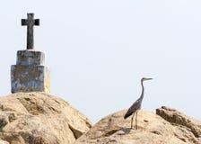 Chrześcijanin czapla na rockowej wyspie w Kerala stojących wodach i krzyż Zdjęcie Royalty Free