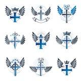 Chrześcijanin Krzyżuje emblematy ustawiających Heraldyczny żakiet ręki dekoracyjne ilustracja wektor