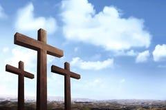 Chrześcijanin krzyżuje niebieskiego nieba tło zdjęcie royalty free