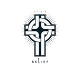 Chrześcijanin Przecinającej prawdziwej wiary religii wektorowy symbol, chrystianizm royalty ilustracja