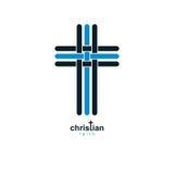 Chrześcijanin Przecinającej prawdziwej wiary religii wektorowy symbol, chrystianizm ilustracji