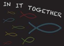 Chrześcijanin ryba w nim Wpólnie ilustracji