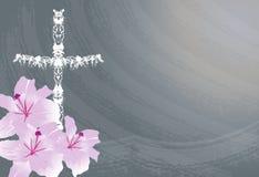 Chrześcijanina krzyż i leluja kwiat royalty ilustracja